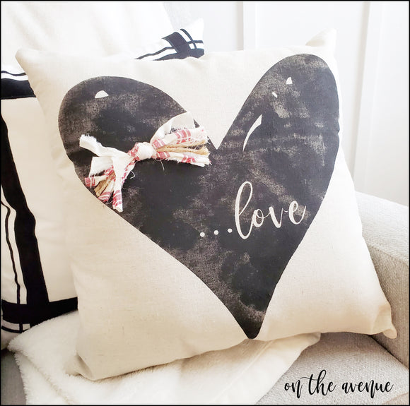 LOVE Rustic Heart - Stuffed Pillow