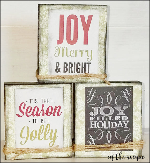 Joy, Merry and Bright Block Set of 3