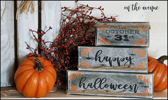 October 31, Happy Halloween Block Set