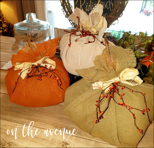 Burlap Fabric Pumpkins - Set of 3