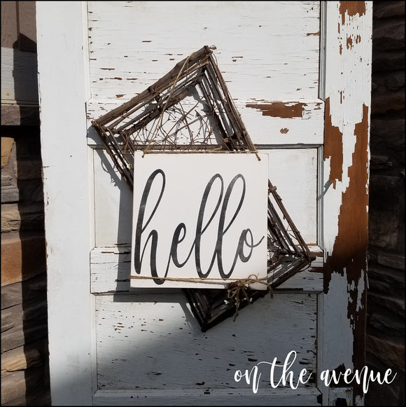 Hello ~ Door Hanger Wood Sign