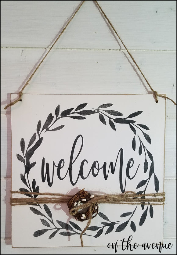 Welcome Wreath Door Hanger