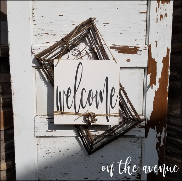 Welcome - Wood Door Hanger