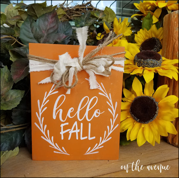 Hello Fall - Rustic Shelf Sitter