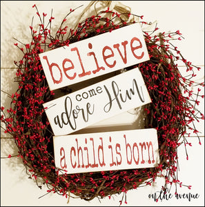 Believe/Adore Him Christmas Tree Ornament Set