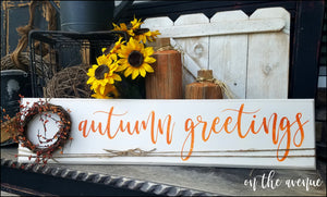 Autumn Greetings Large Sign w/Wreath