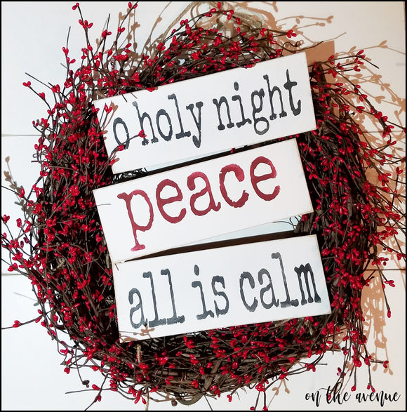 O Holy Night/Peace/All is Calm - Ornament Sign Set