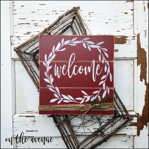 Rustic Welcome Wreath Door Hanger