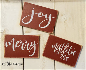 Joy/Merry/Mistletoe Ornament Set