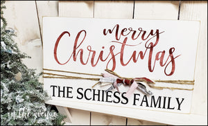 Merry Christmas Custom Family Name Sign