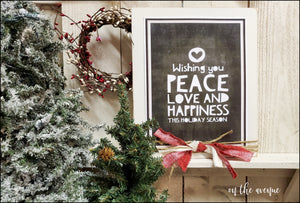 Wishing You Love Peace and Happiness - Christmas Block