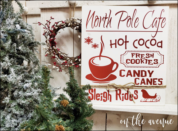 North Pole Cafe Hot Cocoa Sign