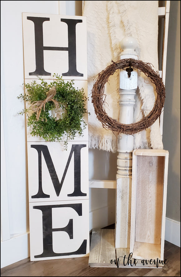 Rustic HOME Sign w/Boxwood Wreath