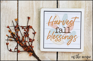 Harvest Fall Blessings - Shelf Sitter Block