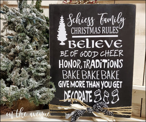 Christmas Rules - Custom Name Christmas Sign