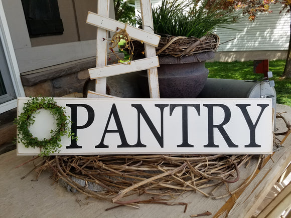 Pantry Sign w/Boxwood Wreath