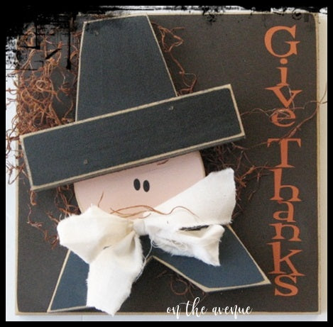 Give Thanks Pilgrim Door Hanger