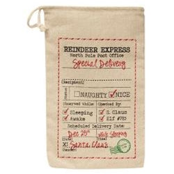 Reindeer Express Canvas Gift Bag