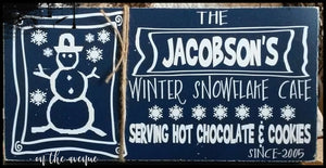 Winter Snowflake Cafe - Custom Name Sign