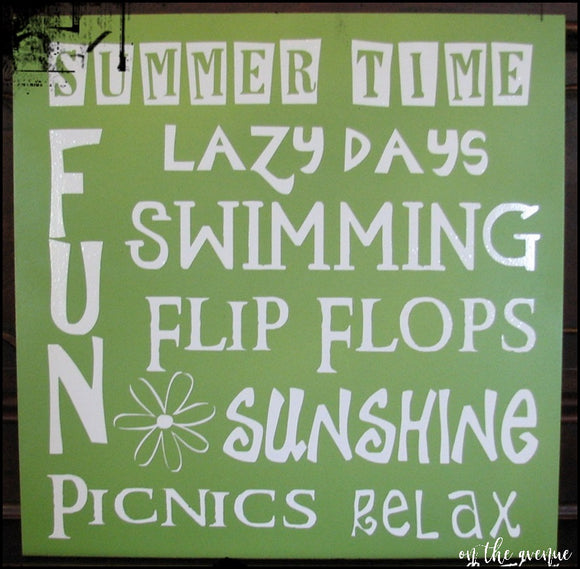 #6 - Summer Time/Lazy Days Subway Art Sign