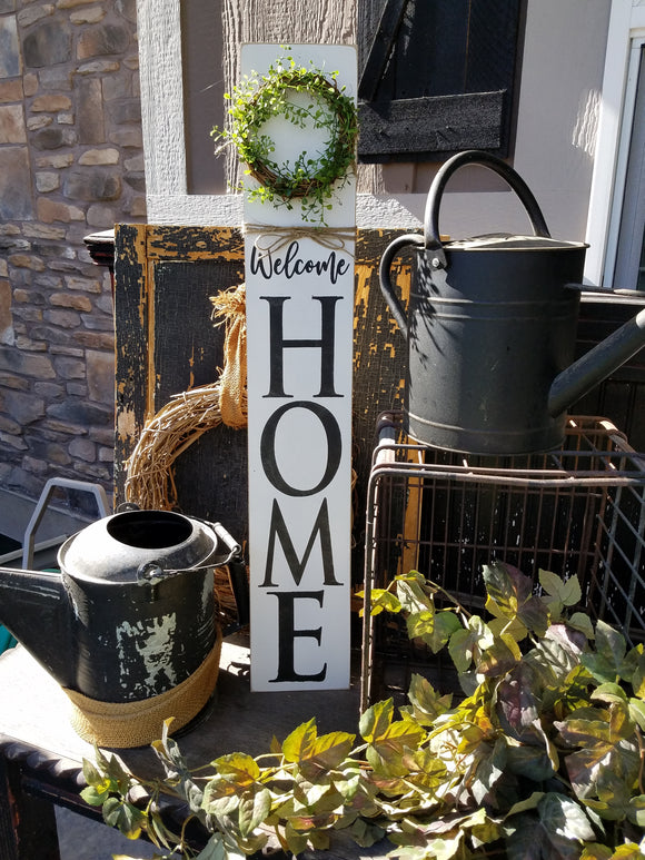 Tall Welcome Home Wreath Sign