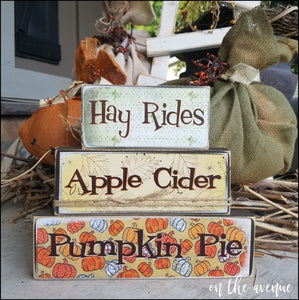 Hay Rides - Apple Cider - Pumpkin Pie Block Set