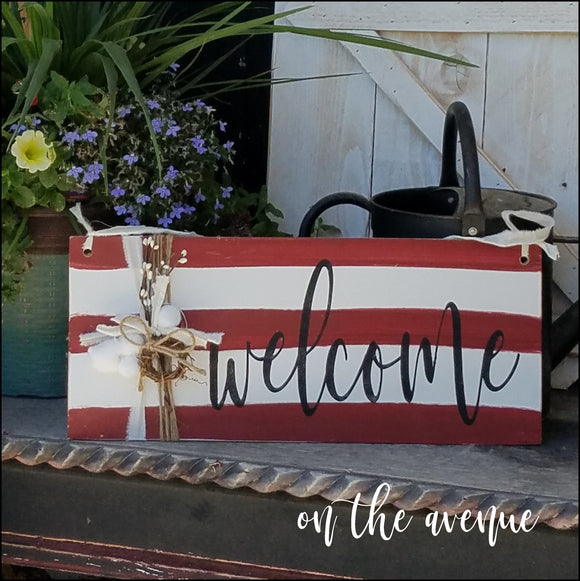 ~ Welcome Stripes Door Hanger