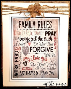 Family Rules Subway Art Sign