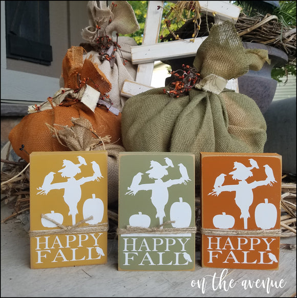 Happy Fall Block Set of 3