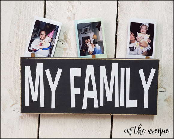 My Family - Wood Block Picture Holder - UNFINISHED KIT