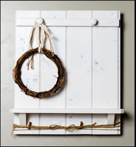 Rustic Shiplap Shelf w/Grapevine Wreath