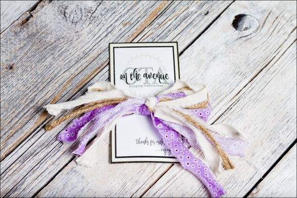 Purple Fabric/Jute Bow