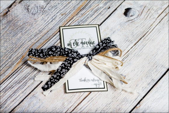Black Fabric/Jute Bow