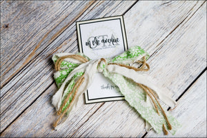 Green Fabric/Jute Bow