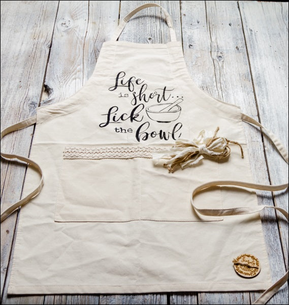 ~Life Is Short...Lick The Bowl~ Fabric Apron