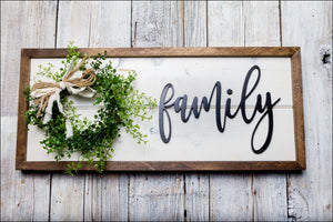 ~Family~  Shiplap Box w/Boxwood Wreath