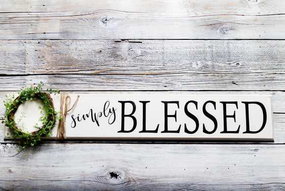 ~Simply Blessed w/Wreath~ Wood Sign