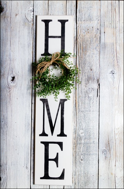 ~HOME w/Boxwood Wreath~ Tall Sign