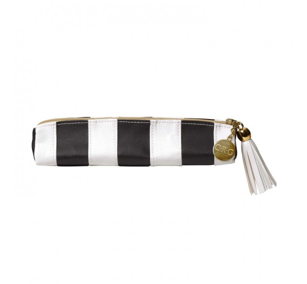 Leatherette Pencil Pouch - Black & White