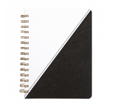 Leatherette Spiral Perforated Journal - Black & White