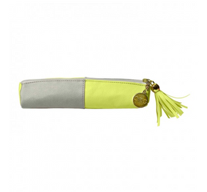 Leatherette Pencil Pouch - Citron & Slate
