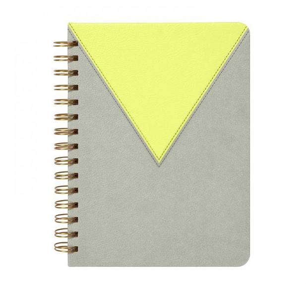 Leatherette Spiral Perforated Journal - Citron & Slate