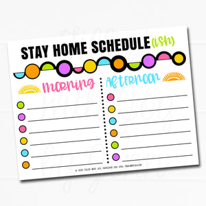 * FREEBIE * Stay Home Schedule