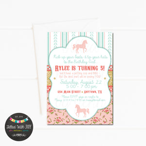 Shabby Chic Horse Birthday Invitation