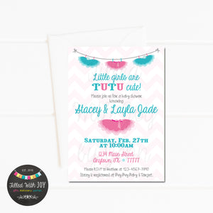 Pink & Teal Tutu Invitation