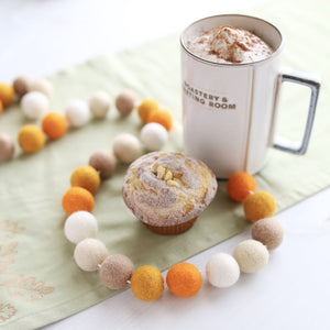 Pumpkin Spice Felt Ball Garland