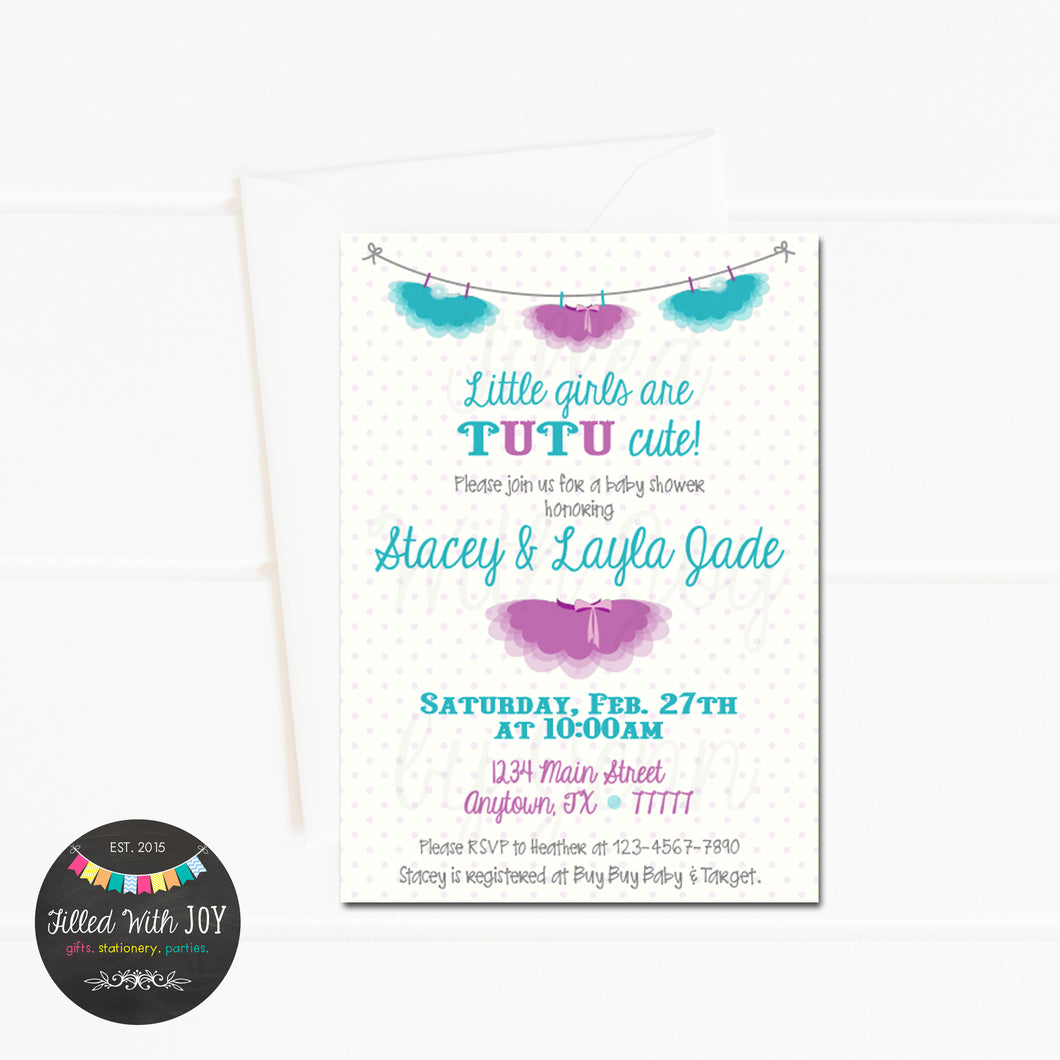 Purple & Teal Tutu Invitation