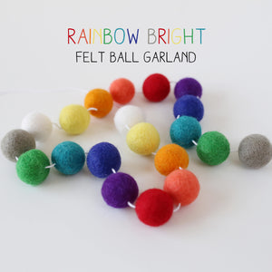 Rainbow Bright Felt Ball Garland