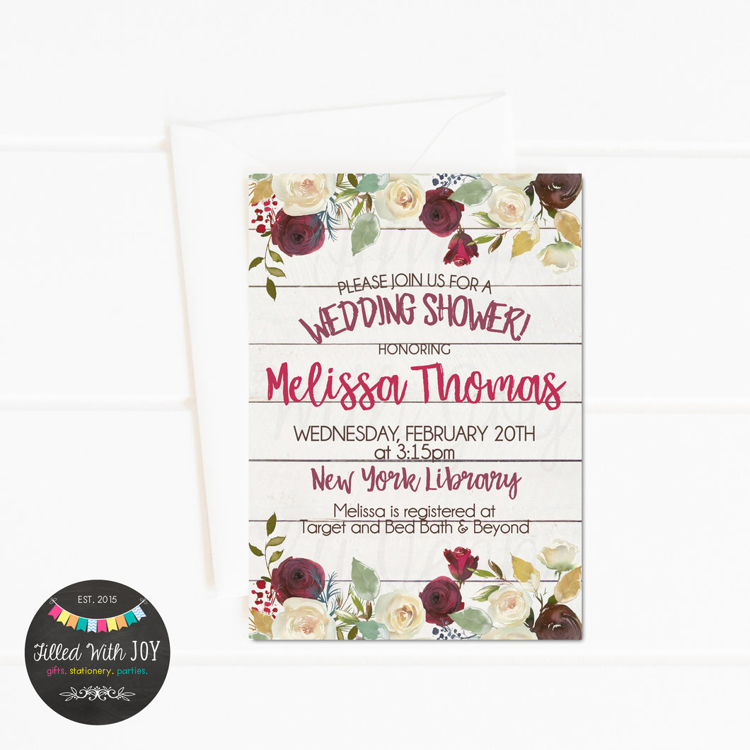 Raspberry Floral Wedding Shower Invitation