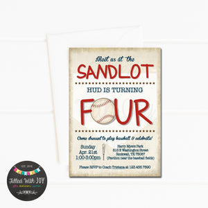 Sandlot Baseball Birthday Invitation